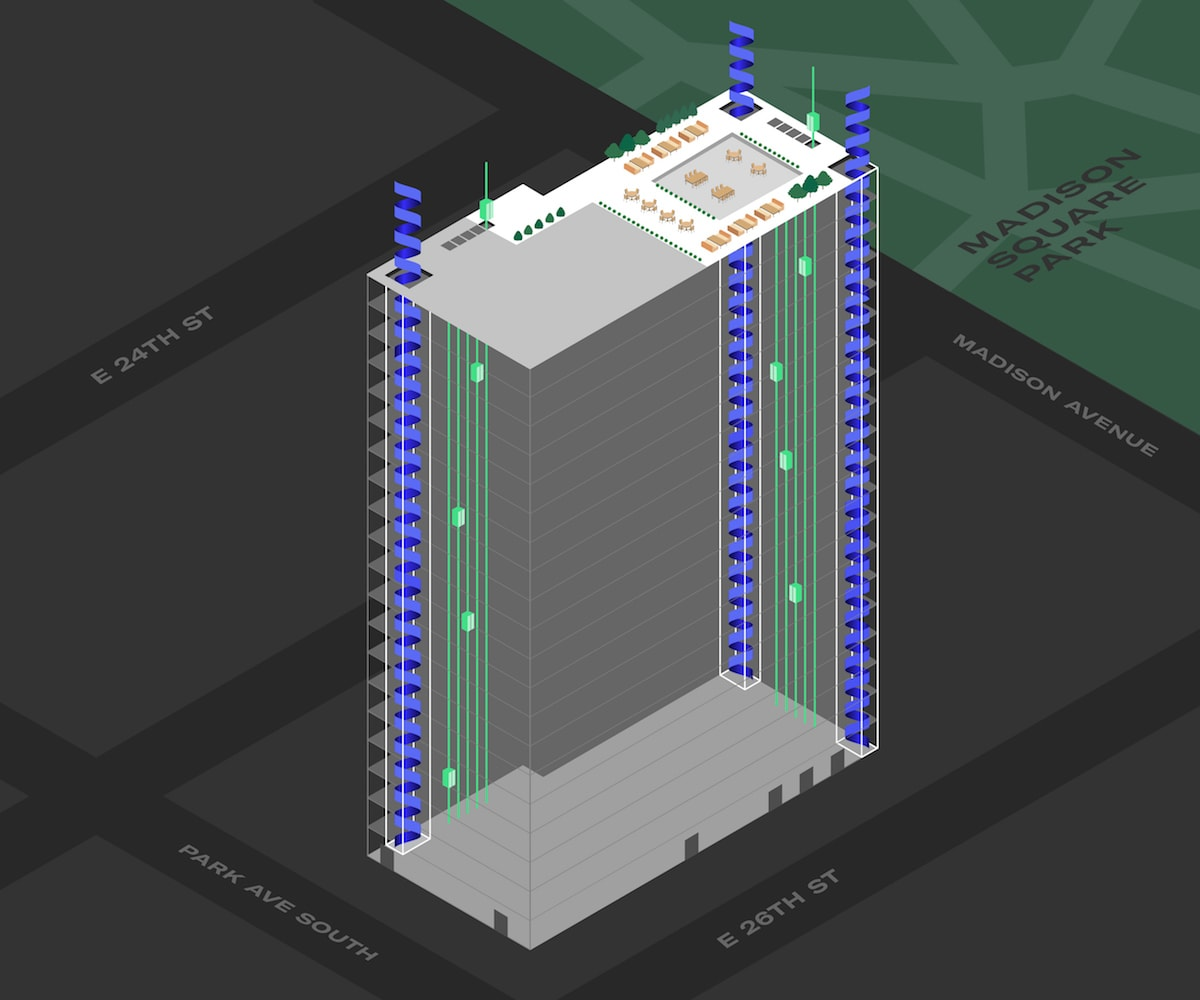 3D Blueprint of 360 Park Avenue South Depicting Its Location in NYC